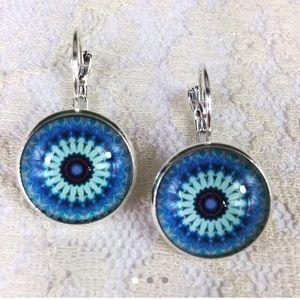 3/$15 Silver Tone Medallion Drop Earrings